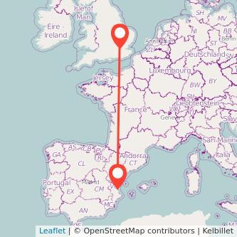 Mapa del viaje Valencia Londres en tren