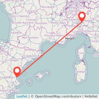 Mapa del viaje Valencia Milan en bus