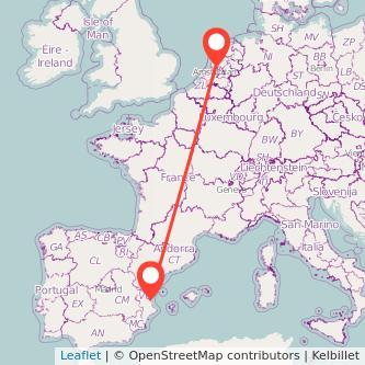 Mapa del viaje Valencia Amsterdam en bus