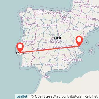 Mapa del viaje Valencia Lisboa en bus