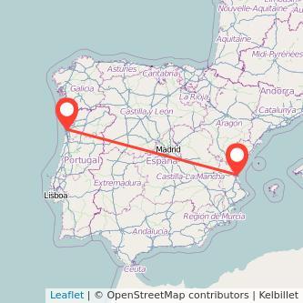Mapa del viaje Valencia Oporto en bus