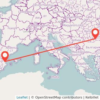 Mapa del viaje Valencia Bucarest en bus