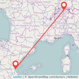 Mapa del viaje Valencia Zúrich en tren