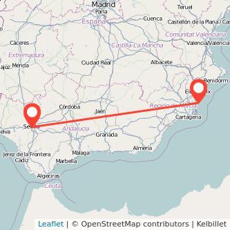 Mapa del viaje Torrevieja Sevilla en bus
