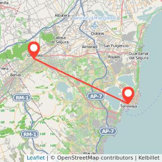 Mapa del viaje Torrevieja Orihuela en bus