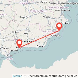 Mapa del viaje Torrevieja Málaga en bus