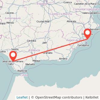 Mapa del viaje Torrevieja Jerez de la Frontera en bus