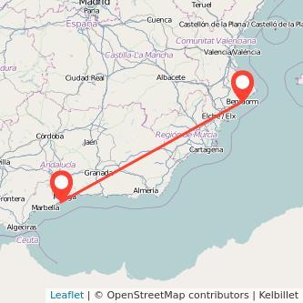 Mapa del viaje Torremolinos Benidorm en bus