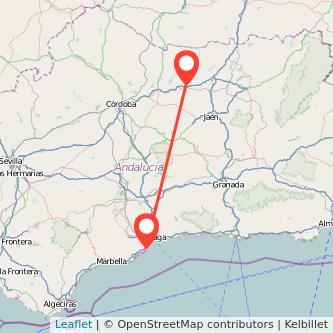 Mapa del viaje Torremolinos Andújar en bus