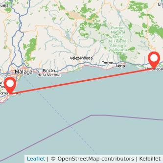 Mapa del viaje Torremolinos Almuñécar en bus