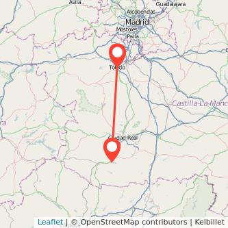 Mapa del viaje Toledo Puertollano en bus