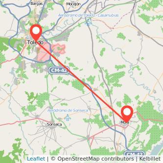 Mapa del viaje Toledo Mora en bus