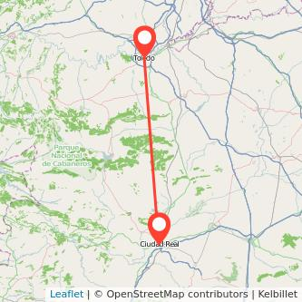 Mapa del viaje Toledo Ciudad Real en bus