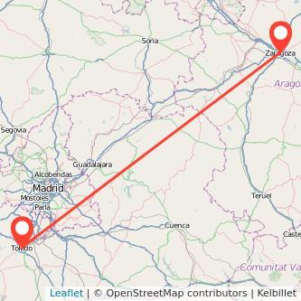 Mapa del viaje Toledo Zaragoza en bus