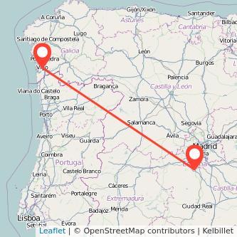 Mapa del viaje Toledo Vigo en tren