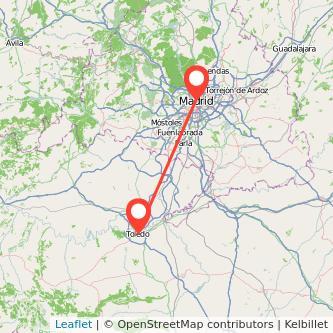 Mapa del viaje Toledo Madrid en bus