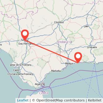 Mapa del viaje Sevilla Torre del Mar en bus