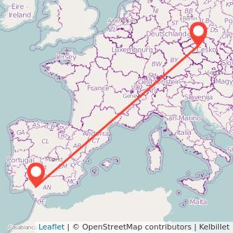 Mapa del viaje Sevilla Praga en bus