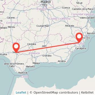 Mapa del viaje Sevilla Murcia en bus