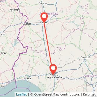 Mapa del viaje Sevilla Mérida en bus