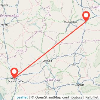 Mapa del viaje Sevilla Manzanares en bus