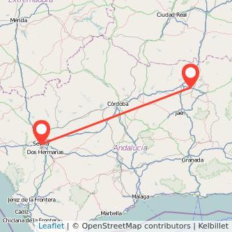 Mapa del viaje Sevilla Linares en bus