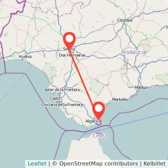 Mapa del viaje Sevilla La Línea de la Concepción en bus
