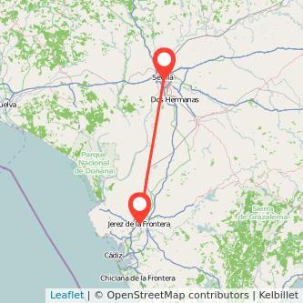 Mapa del viaje Sevilla Jerez de la Frontera en bus