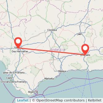 Mapa del viaje Sevilla Granada en bus