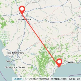 Mapa del viaje Sevilla Estepona en bus
