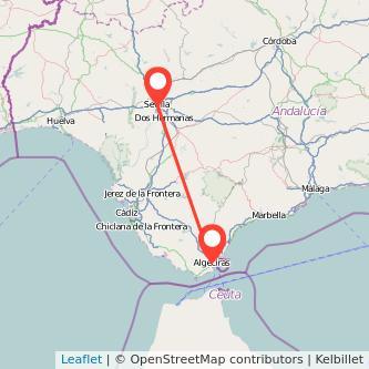 Mapa del viaje Sevilla Algeciras en bus