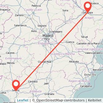 Mapa del viaje Sevilla Zaragoza en bus