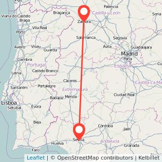 Mapa del viaje Sevilla Zamora en bus
