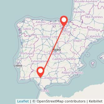 Mapa del viaje Sevilla Vitoria-Gasteiz en bus
