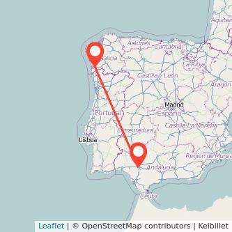 Mapa del viaje Sevilla Vigo en bus
