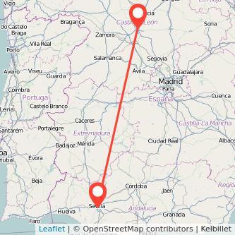 Mapa del viaje Sevilla Valladolid en bus