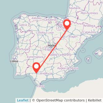Mapa del viaje Sevilla Tudela en bus