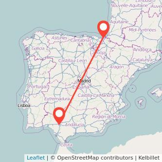 Mapa del viaje Sevilla San Sebastián en bus