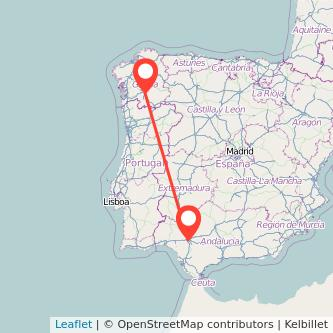 Mapa del viaje Sevilla Ourense en bus