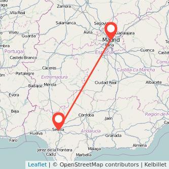 Mapa del viaje Sevilla Madrid en bus