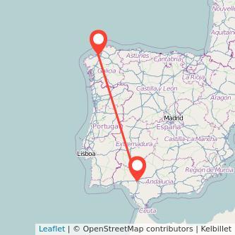 Mapa del viaje Sevilla A Coruña en bus
