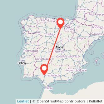Mapa del viaje Sevilla Burgos en bus