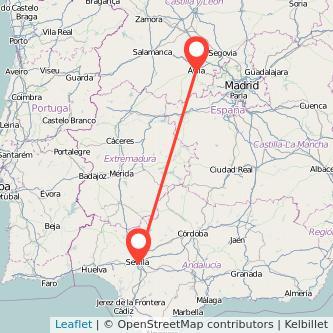 Mapa del viaje Sevilla Ávila en bus
