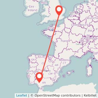 Mapa del viaje Sevilla Londres en bus