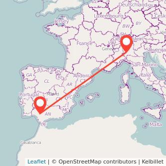 Mapa del viaje Sevilla Milan en bus