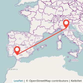 Mapa del viaje Sevilla Bolonia en bus