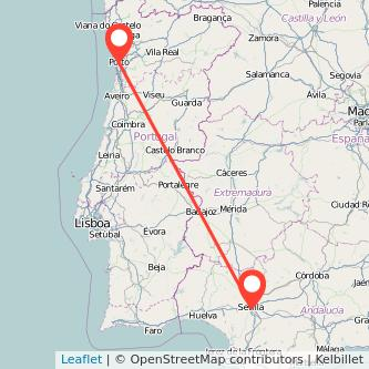Mapa del viaje Sevilla Oporto en bus