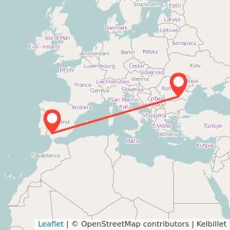 Mapa del viaje Sevilla Bucarest en bus