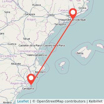 Mapa del viaje San Pedro del Pinatar Barcelona en bus