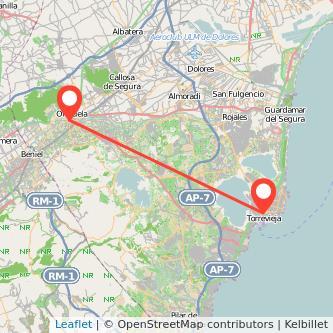 Mapa del viaje Orihuela Torrevieja en bus